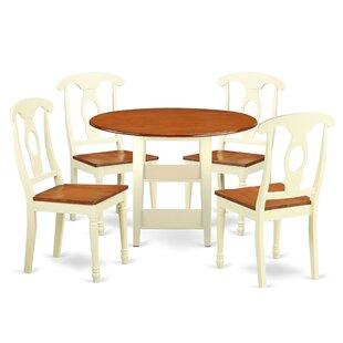 Charlton Home Tyshawn 5 Piece Drop Leaf Breakfast Nook Solid Wood Dining Set