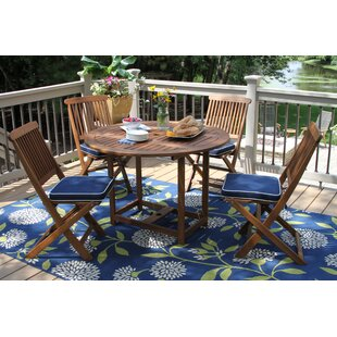 Beachcrest Home Wiscon Round Fold and Store 5 Piece Dining Set