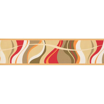 "Brumfield Abstract Waves 0.5' L x 180"" W Wallpaper Border Red Barrel Studio Color: Red/Brown"