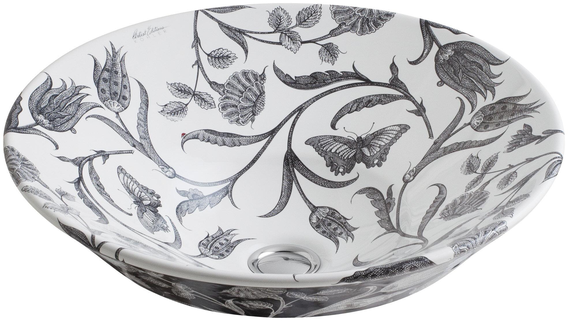 Kohler Botanical Study Ceramic Circular Vessel Bathroom Sink Wayfair Ca