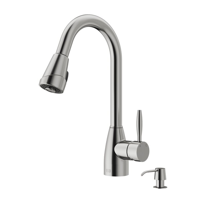 VIGO Graham Pull Down Single Handle Kitchen Faucet with Optional ...