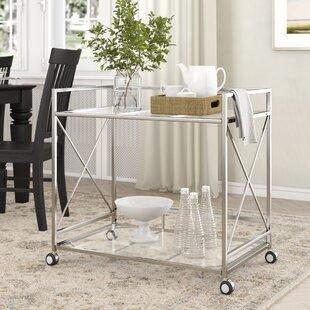 Ducote Industrial Modern Iron/Glass Bar Cart by Ebern Designs