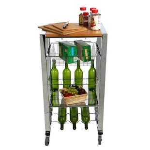 Chop Block Mobile Kitchen Cart with Wood Top by Mind Reader