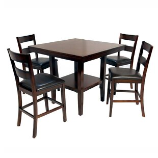 Harvest Moon 5 Piece Solid Wood Dining Set Red Barrel Studio