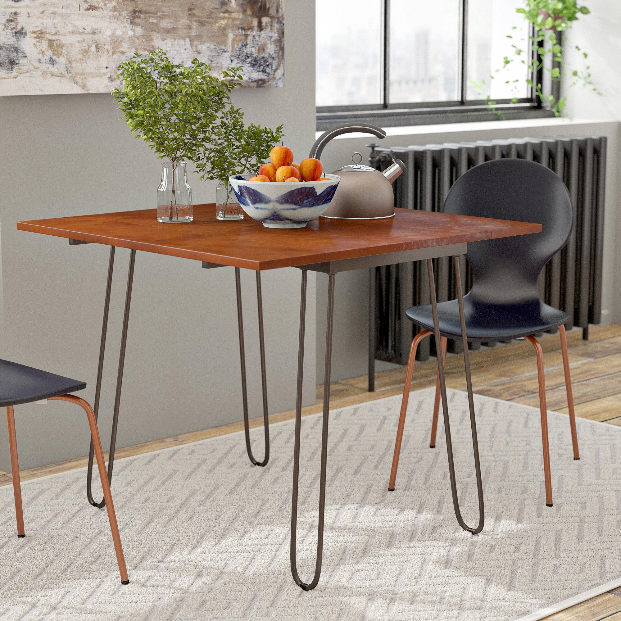 Image of: Wrought Studio Parikh Drop Leaf Dining Table Reviews Wayfair