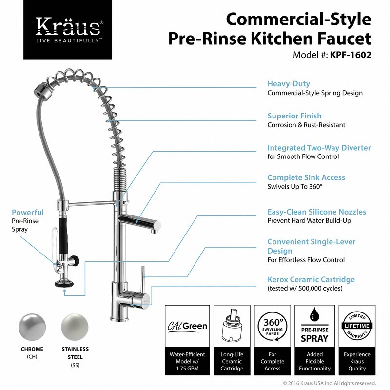 Kraus Pull Out Kitchen Mixer Single Handle Kitchen Faucet ...