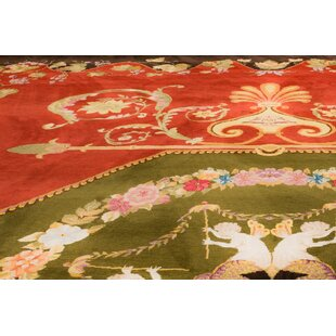 One-of-a-Kind Blassingame Hand-Knotted 13'1 x 25' Wool Red/Green Area Rug by Astoria Grand
