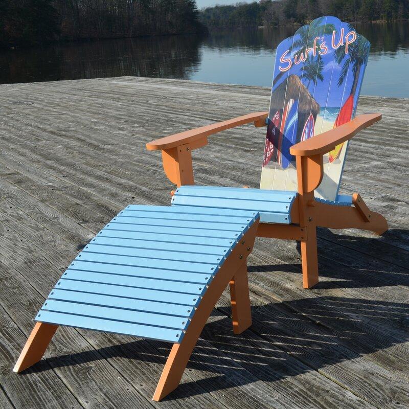 Wedelia Solid Wood Adirondack Chair With Ottoman