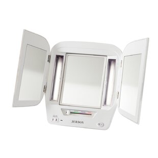 LED Lighted Tri-Fold Makeup/Shaving Mirror Jerdon
