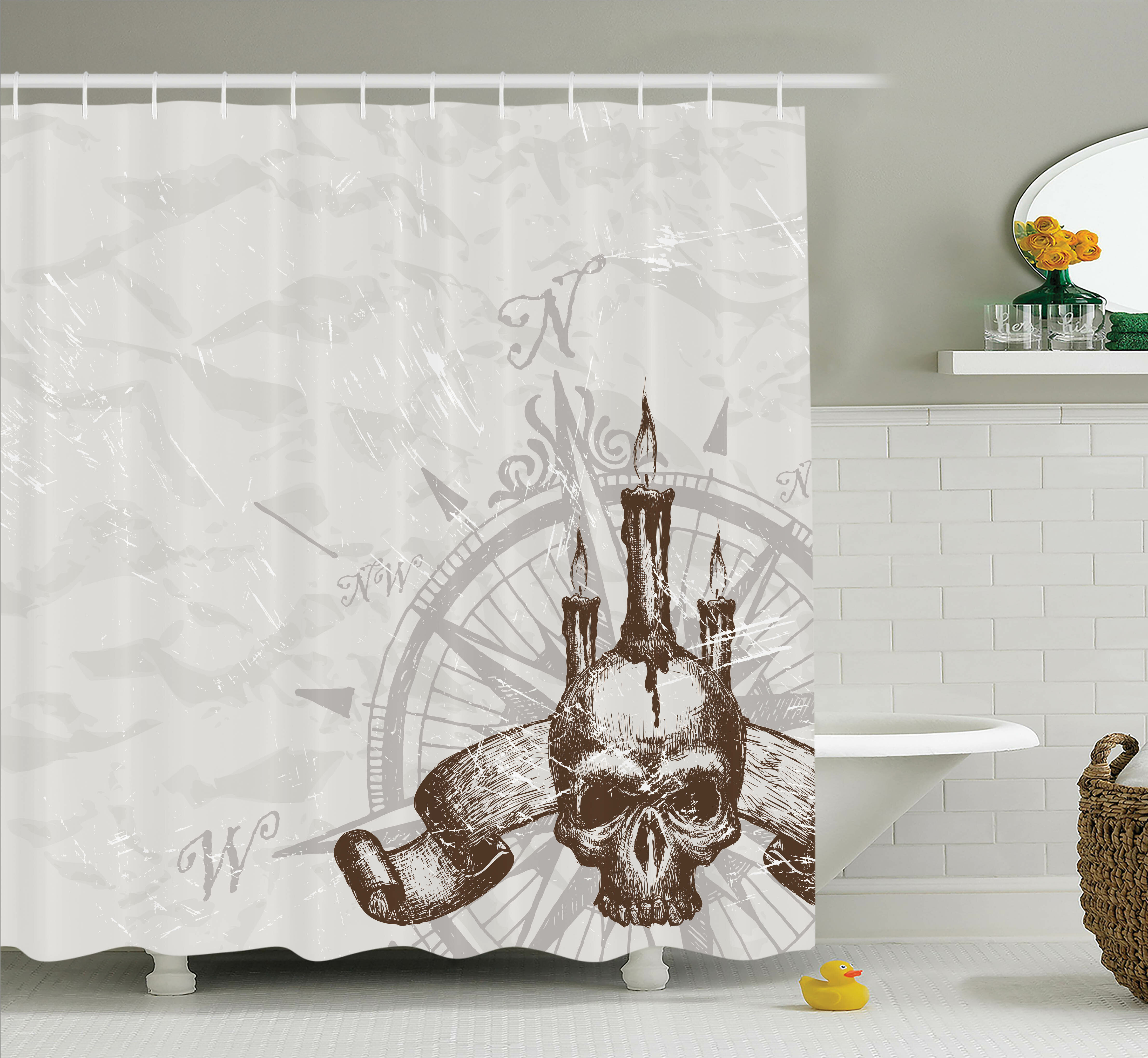 Ambesonne Compass Piracy Skull Shower Curtain Set