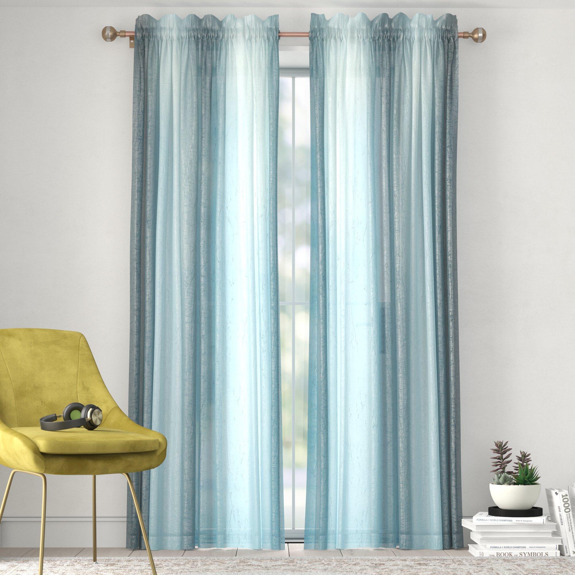 Window Curtain Panel Rainbow Multi-Color Pink//Orange Semi-Sheer Light Filtering