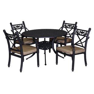 California Outdoor Designs Baldwin 5 Piece Dining Set with Cushions