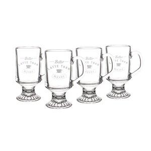 Better Latte than Never 10 Oz. Irish Glass Coffee Mugs (Set of 4)