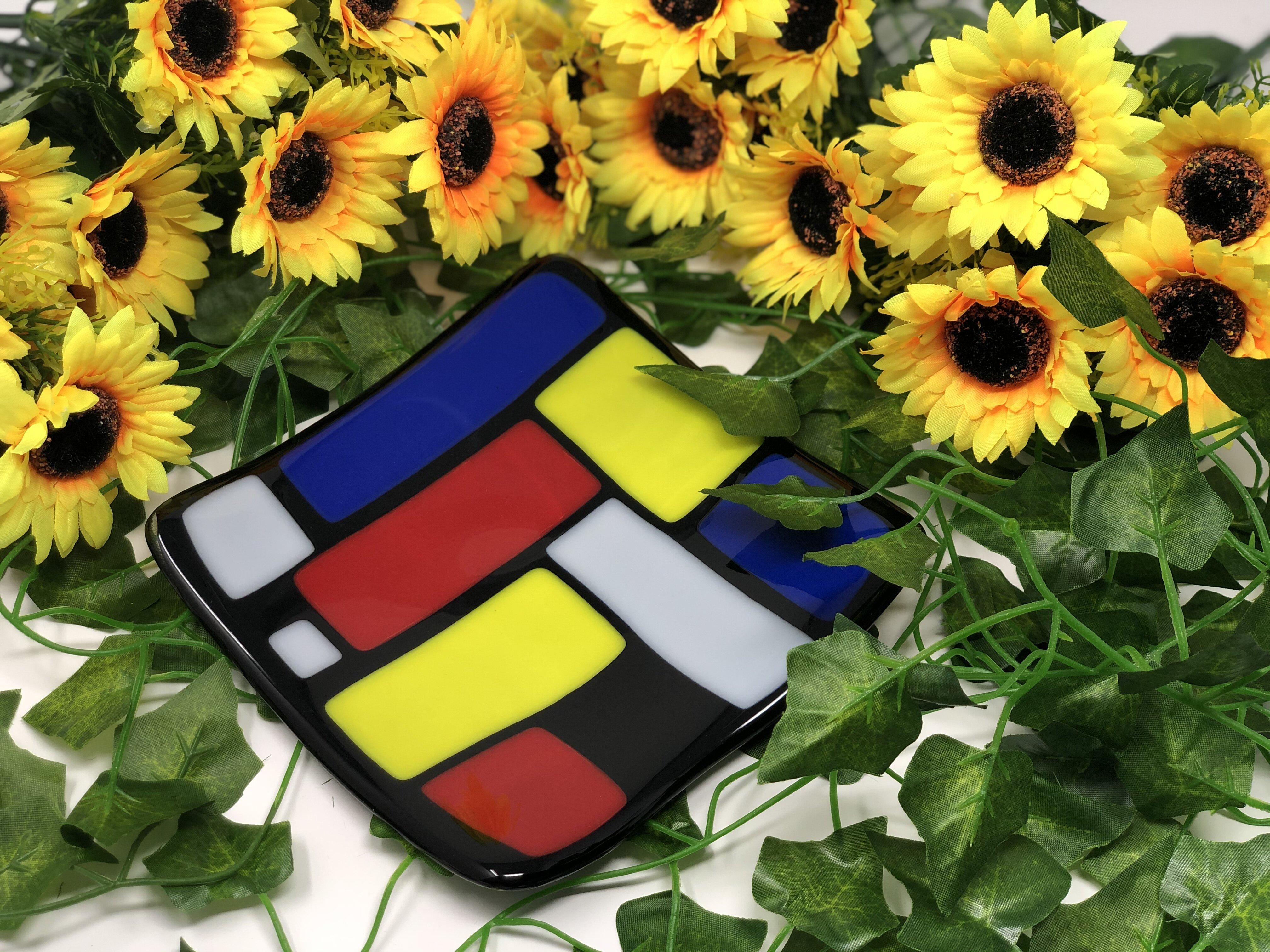 Latitude Run Araliya Glass Square Decorative Plate In Blue Yellow Red Wayfair