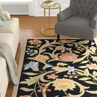 Compare prices Helena Hand-Hooked Wool Black/Light Blue/Peach Area Rug ByCharlton Home