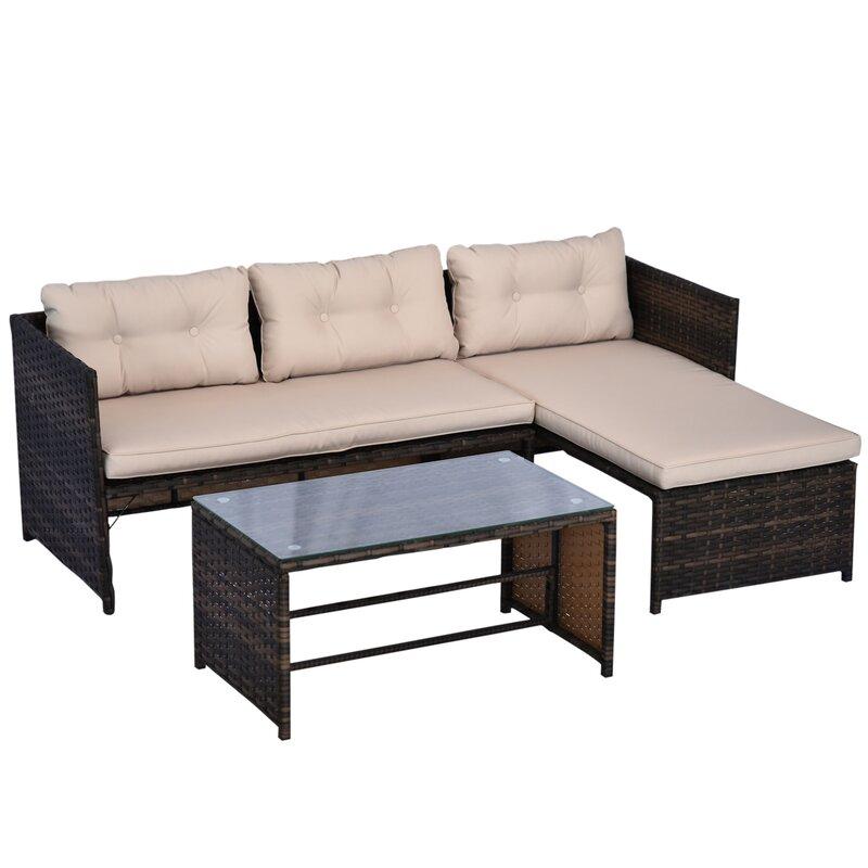 Latitude Run Petekar 3 Piece Rattan Sectional Seating Group With Cushions Reviews Wayfair