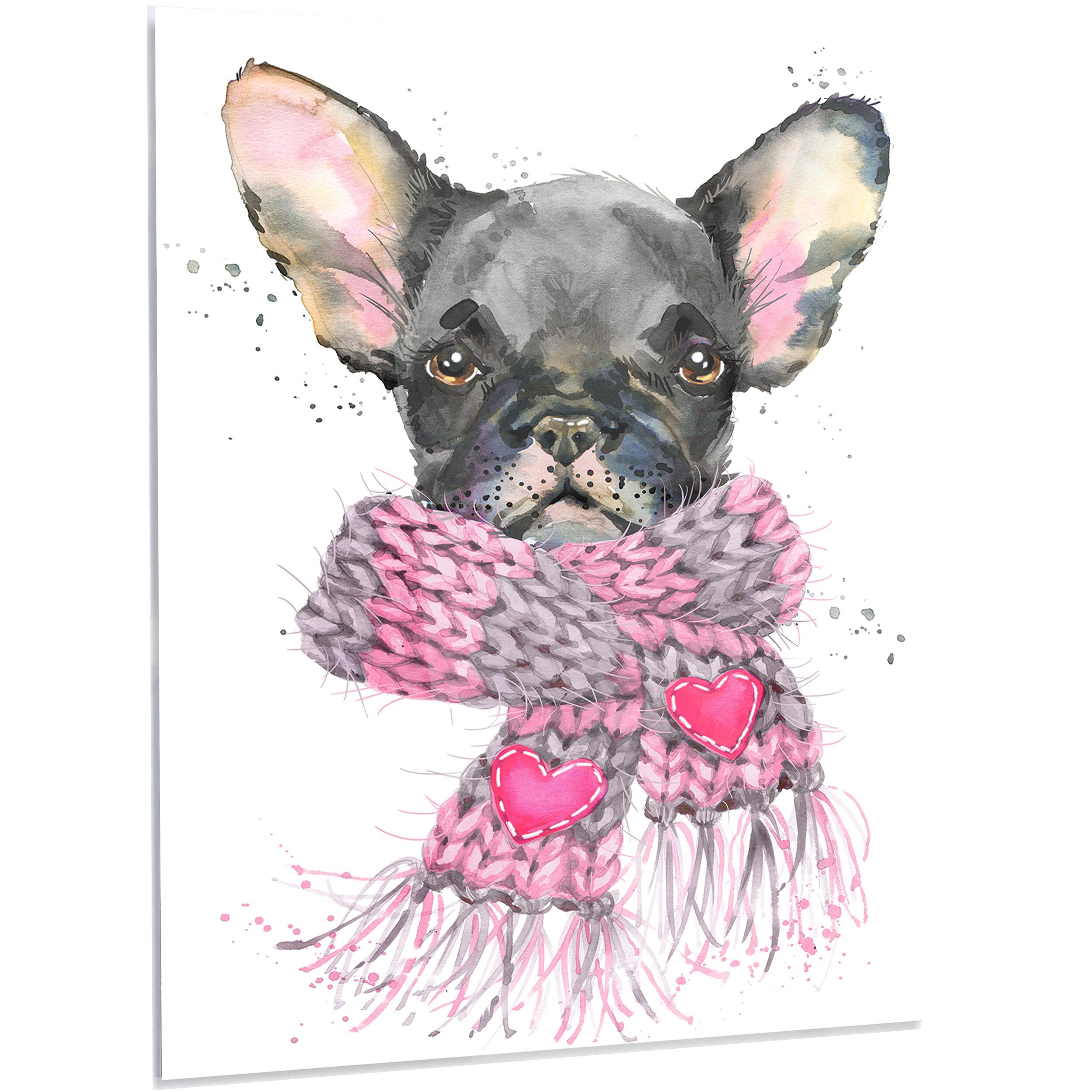 Designart Cute Puppy Dog With Pink Shawl Painting Print On Metal Wayfair