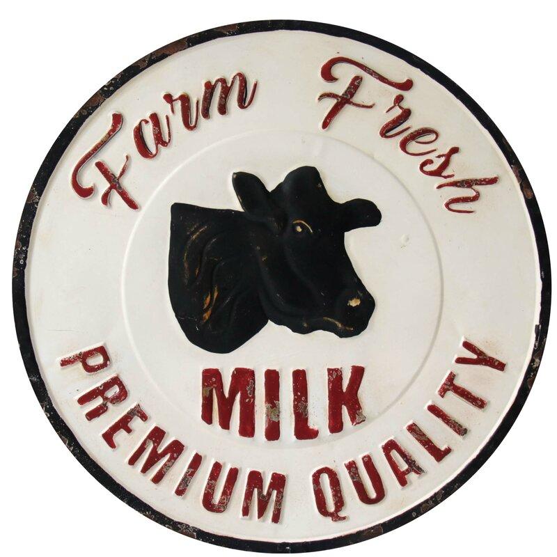 Millwood Pines Vintage Farm Fresh Milk Wall Decor   Wayfair