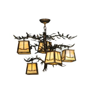 Meyda Tiffany Greenbriar Oak Pine Branch Valley View 5-Light Shaded Chandelier