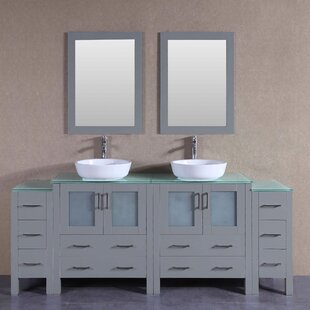 Stoughton 84 Double Bathroom Vanity Set with Mirror by Bosconi