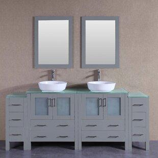 Stoughton 84 inch  Double Bathroom Vanity Set with Mirror