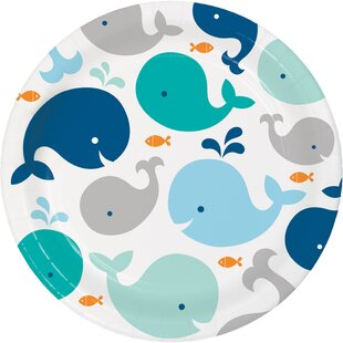 Blue Baby Whale Paper Dessert Plate (Set of 24)