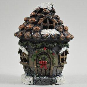 Mystical Pine Cone Festive Fairy Garden Christmas House with LED Light Decoration