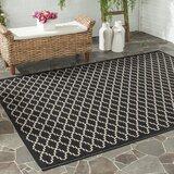 Larson Geometric Black/Beige Indoor/Outdoor Area Rug
