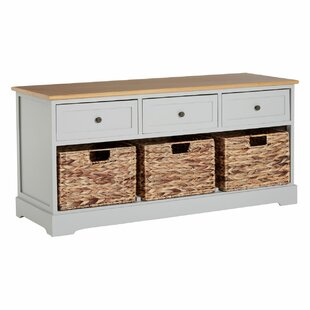 Island Falls 3 Basket Drawer Wood Storage Bench By Breakwater Bay