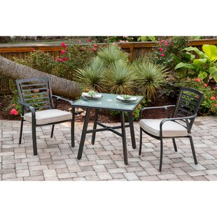 Leeson 3-Piece Commercial-Grade Bistro Set with 2 Cushioned Dining Chairs and a 30 Square Glass-Top Table by Ebern Designs