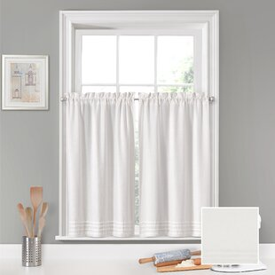 Aon Window Pleated Cafe Curtain (Set of 2) by Rosecliff Heights