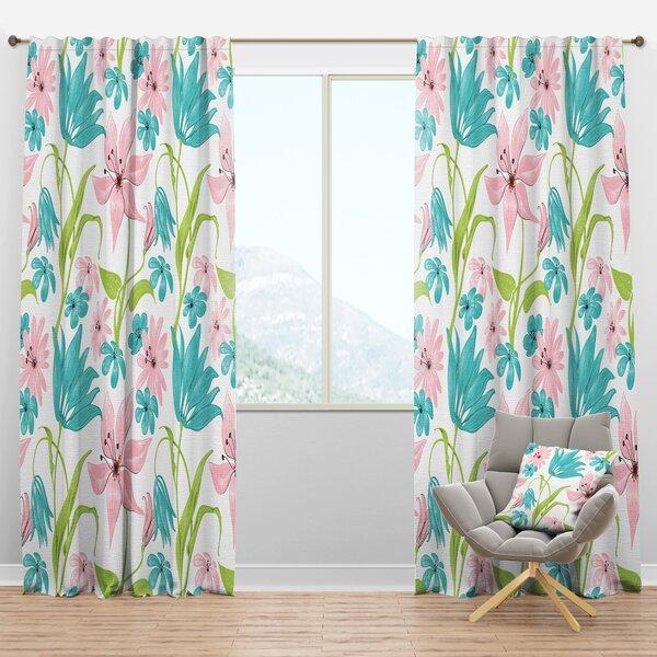 Designart Drawing Floral Semi Sheer Thermal Rod Pocket Curtain Panels Wayfair