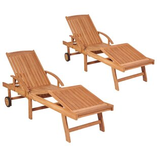 Stadtfeld Reclining Sun Lounger Set With Table (Set Of 2) Image