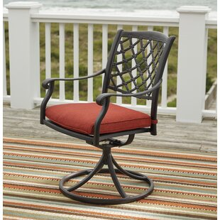 Burgett Swivel Patio Dining Chair with Cushion (Set of 2)