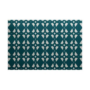 Kneeland Geometric Print Teal Indoor/Outdoor Area Rug
