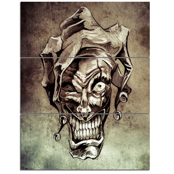 Designart Fantasy Clown Joker Tattoo Sketch 3 Piece Graphic Art On Wrapped Canvas Set Wayfair