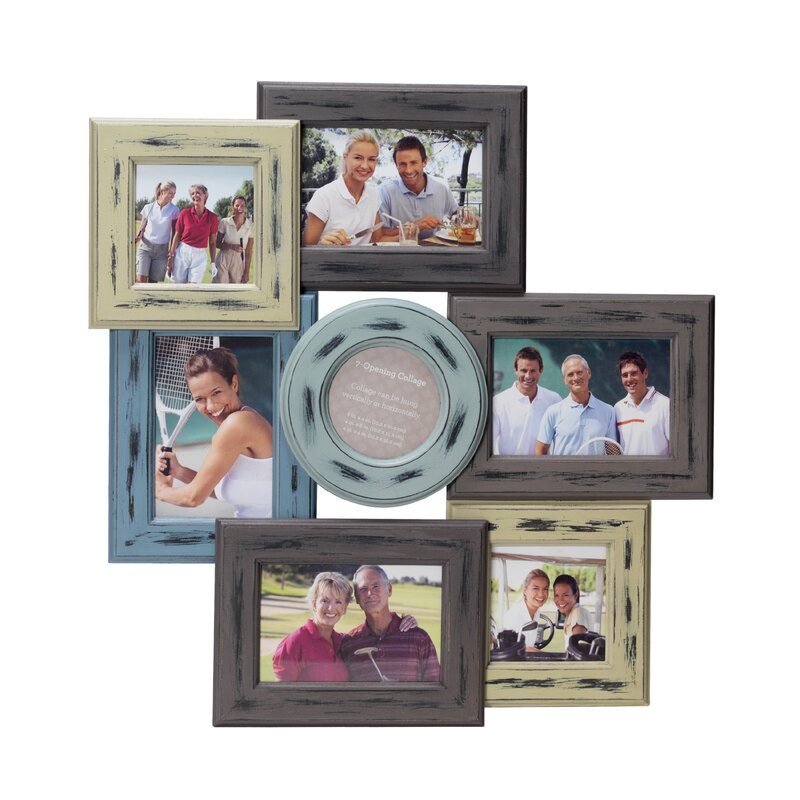 August Grove 7 Opening Distressed Wood Collage Frame & Reviews   Wayfair