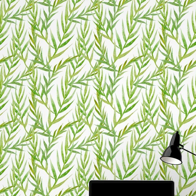 Leaves 48 L X 24 W And Stick Wallpaper Tile