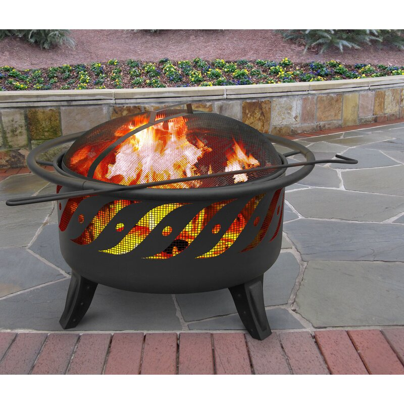 Wido Black Ball Round Sphere Steel Brazier Fire Pit Bowl Basket