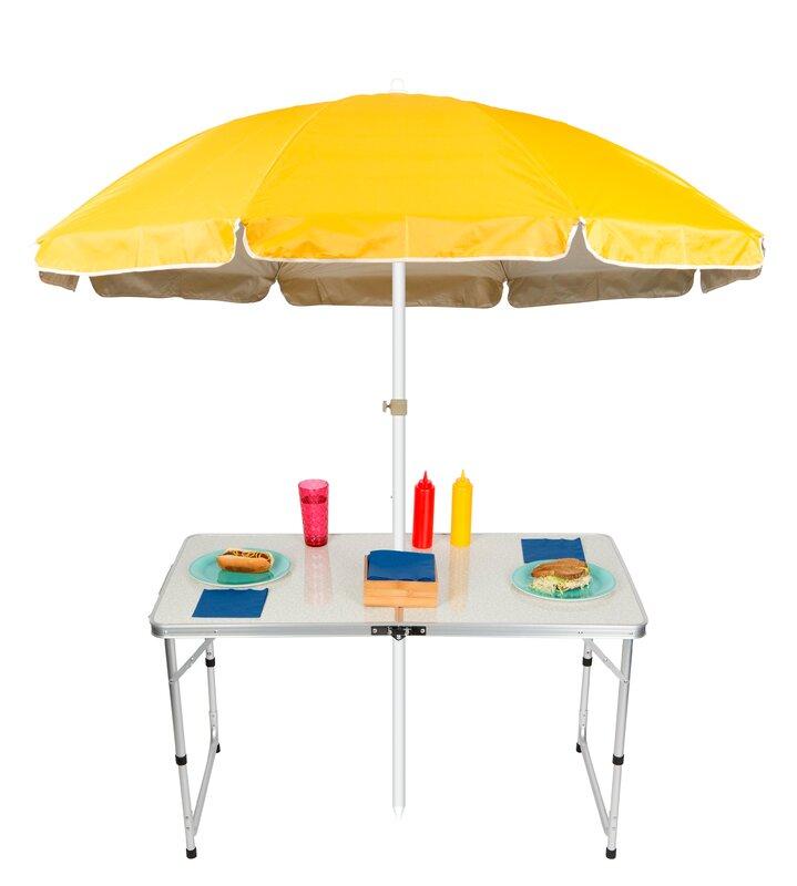 Elegant Adjustable Portable Folding Camp Table 6.5u0027 Beach Umbrella