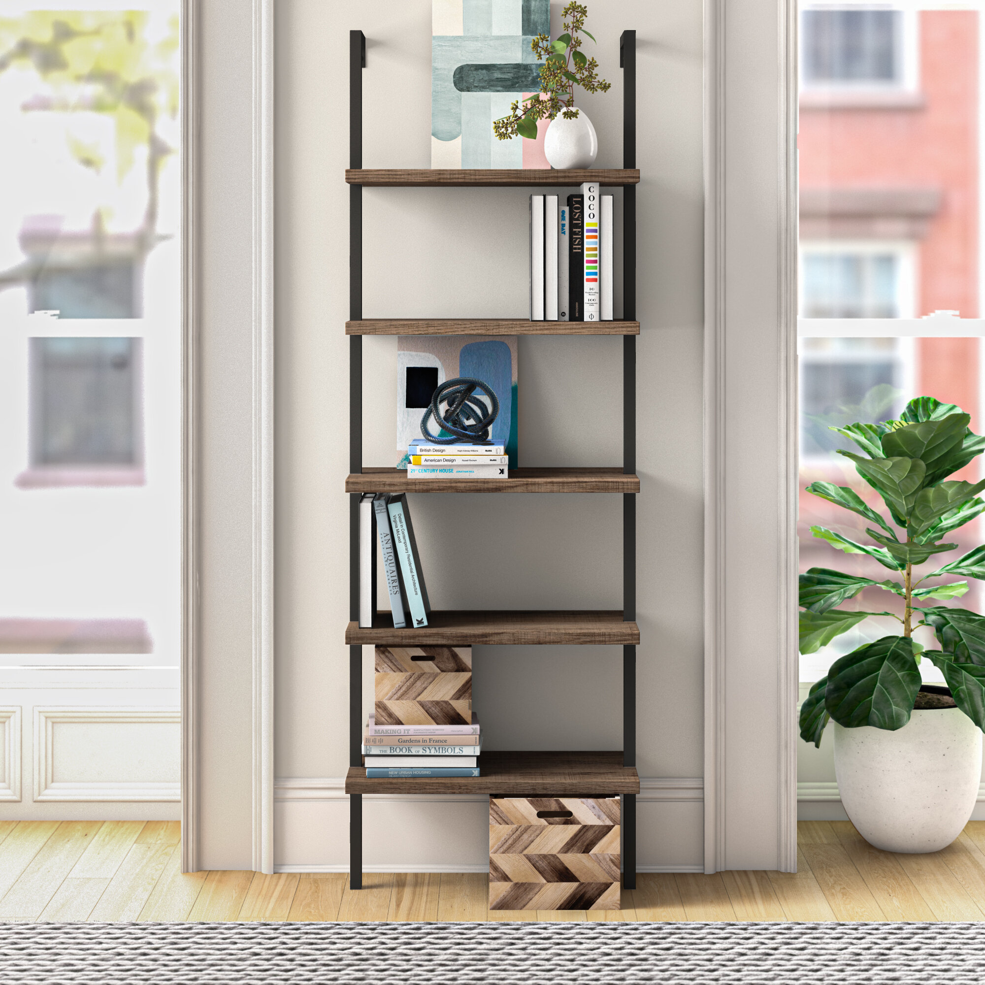 "Orren Ellis Zachary 72"" H x 24"" W Metal Ladder Bookcase & Reviews"