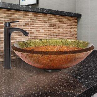 VIGO Janus Glass Circular Vessel Bathroom Sink with Faucet