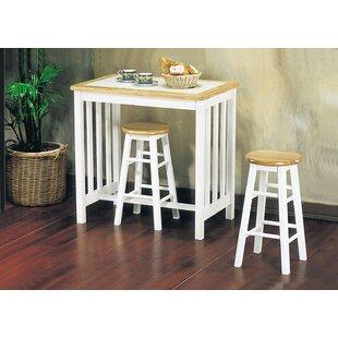 Aryan Wood Frame Oak Counter Height 3 Piece Pub Table Set August Grove