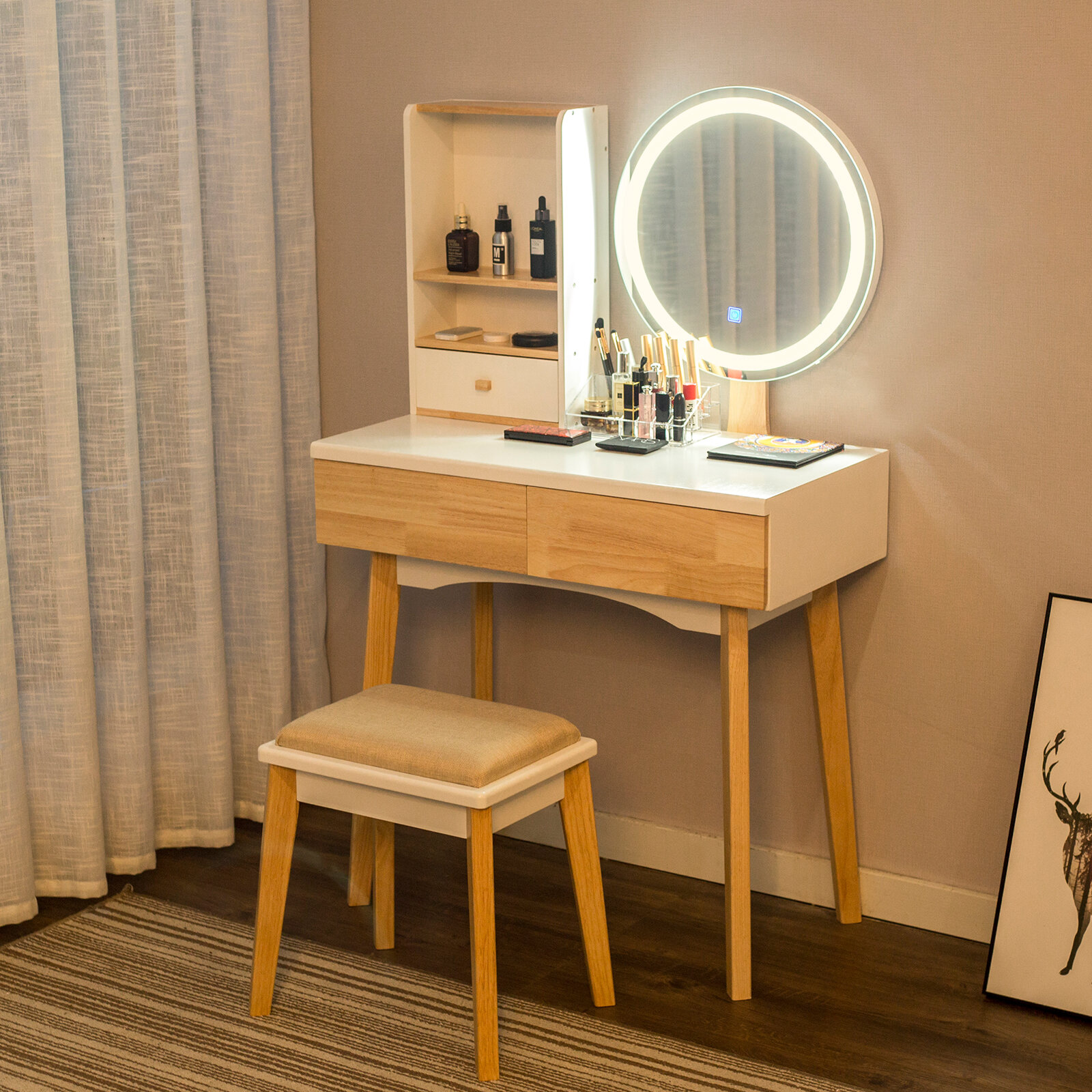 Corrigan Studio Segarra Vanity Set With Stool And Mirror Reviews Wayfair