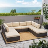 Sedgewick Outdoor 9 Piece Rattan Sectional Seating Group with Cushions by Brayden Studio®