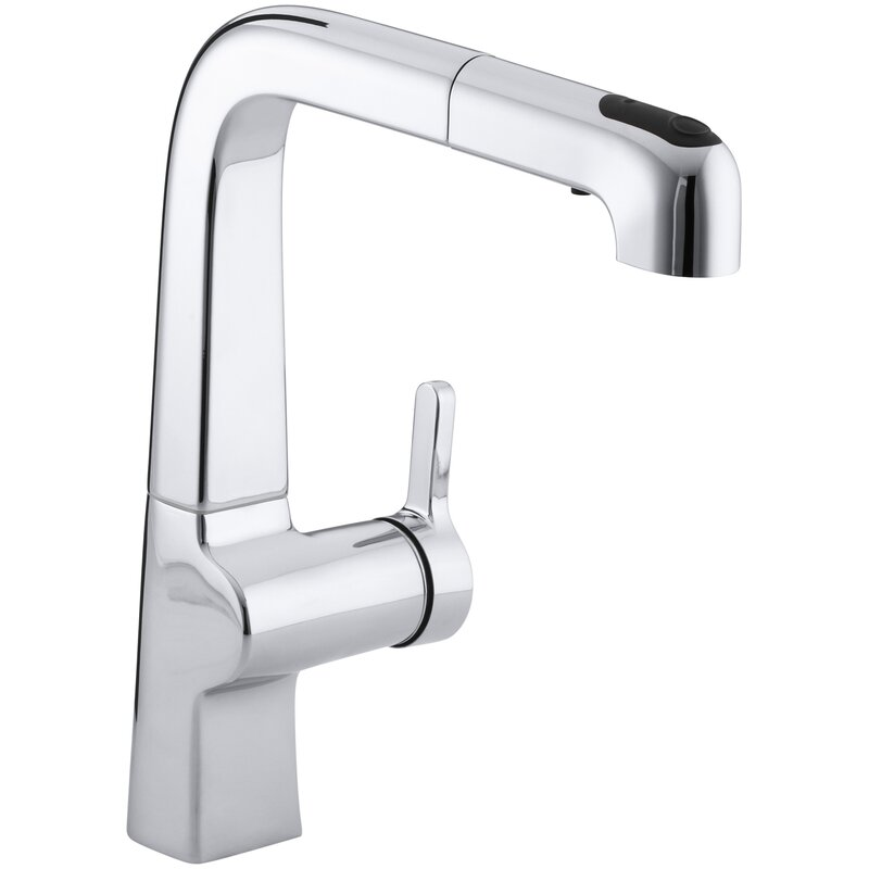 Kohler Evoke Single Hole Kitchen Sink Faucet With 9 Pullout Spout With Promotion And Masterclean Reviews Wayfair