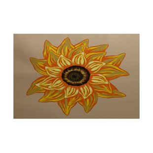 Grass Range El Girasol Feliz Flower Print Beige Indoor/Outdoor Area Rug
