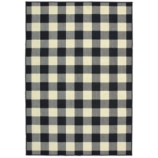 Wiest Gingham Check Black/Ivory Indoor/Outdoor Area Rug by Millwood Pines