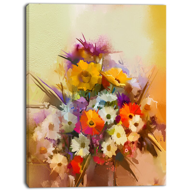 DesignArt \'Hand-painted Bouquet of Flowers\' Painting Print on ...
