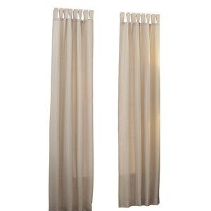 Basics Solid Semi-Sheer Tab Top Single Curtain Panel